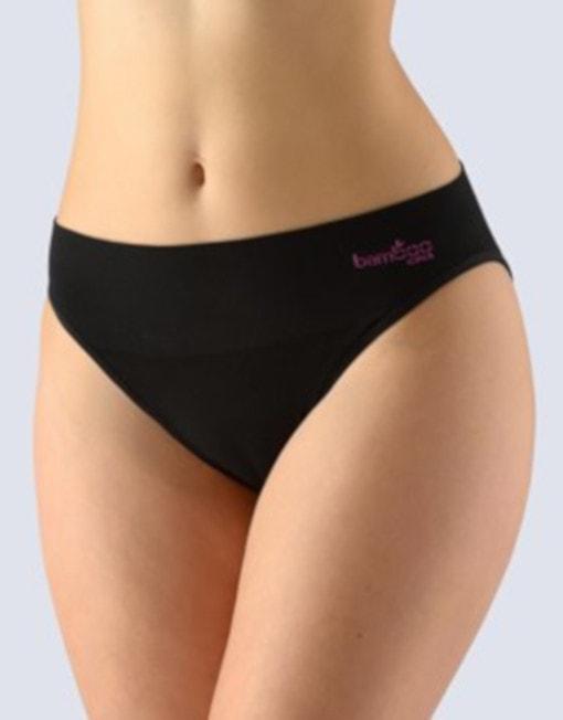 GINA dámské kalhotky klasické, úzký bok, bezešvé, Bamboo 00022P - černá višňová