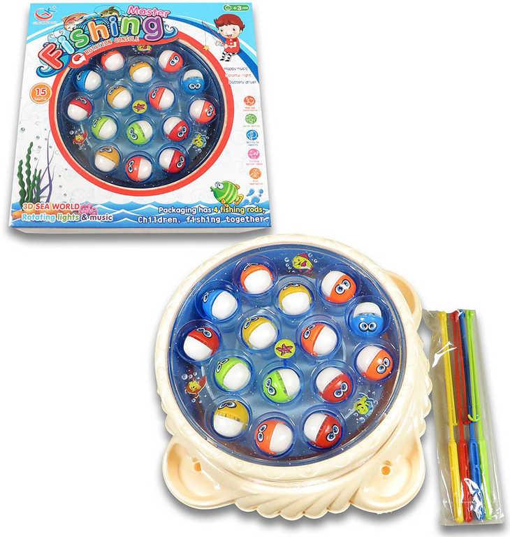Hra Rybky rybolov dětský na baterie 4 udice s melodií 3 barvy