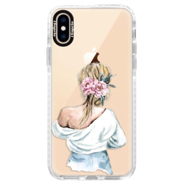 Silikonové pouzdro Bumper iSaprio - Girl with flowers - iPhone XS