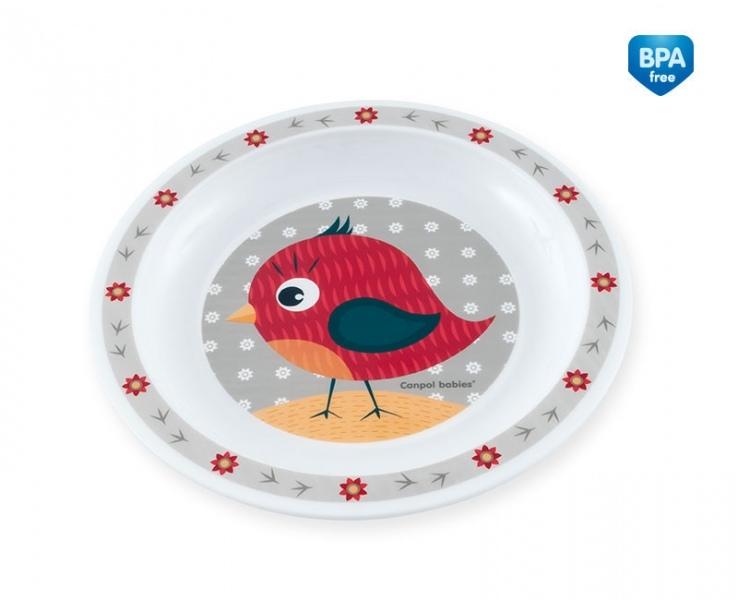 Canpol babies Plastový talířek Ptáček - šedý