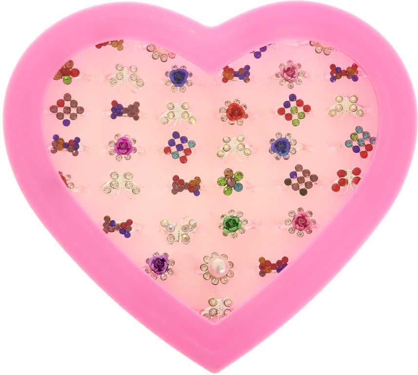 Prstýnek s kamínky dětská bižuterie různé druhy a barvy