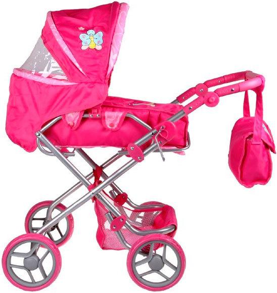 Kočárek Boncare K3 pro panenku miminko růžový s motýlkem trojkombinace