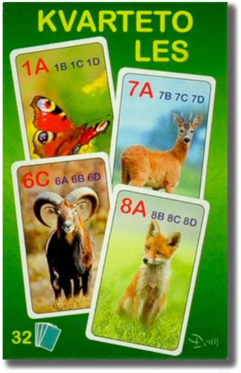 HRA Karetní Kvarteto foto zvířátka LES 32 karet *SPOLEČENSKÉ HRY*