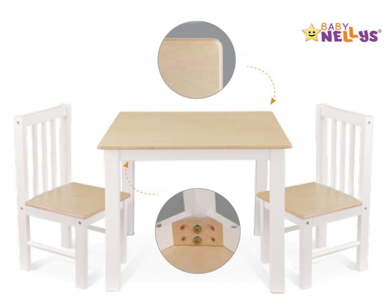 BABY NELLYS Dětský nábytek - 3 ks, stůl s židličkami - bílá, C/07
