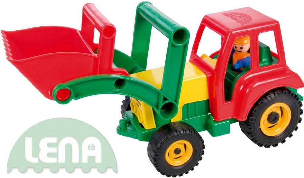 LENA Traktor plastový aktivní se lžící 35cm set s panáčkem 4161