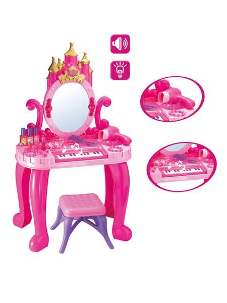 Dětský toaletní stolek s pianem a židličkou Bayo + příslušenství 13 ks - růžová