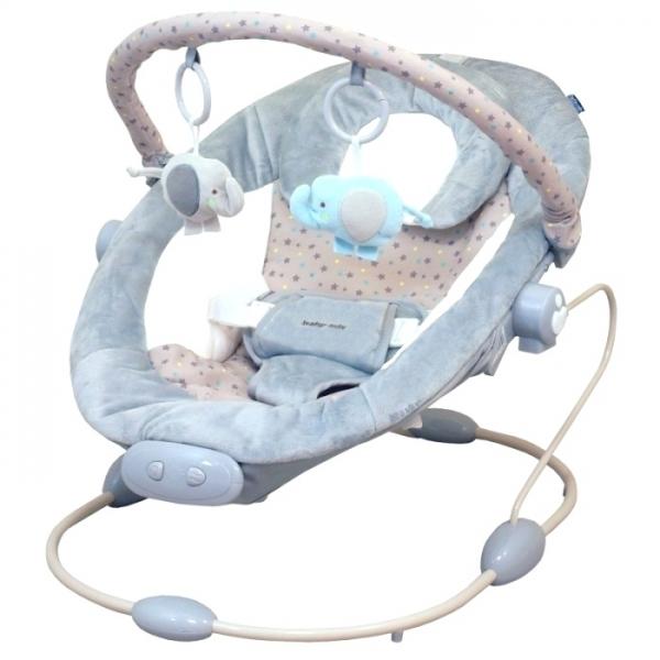 BABY MIX Lehátko pro kojence s vibrací a hudbou - šedé