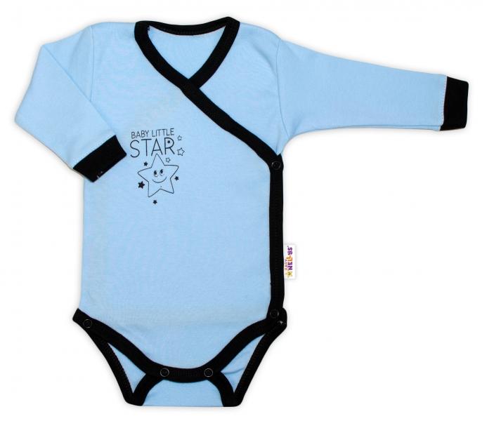 Baby Nellys 2-dílná sada body dl. rukáv + polodupačky, modrá - Baby Little