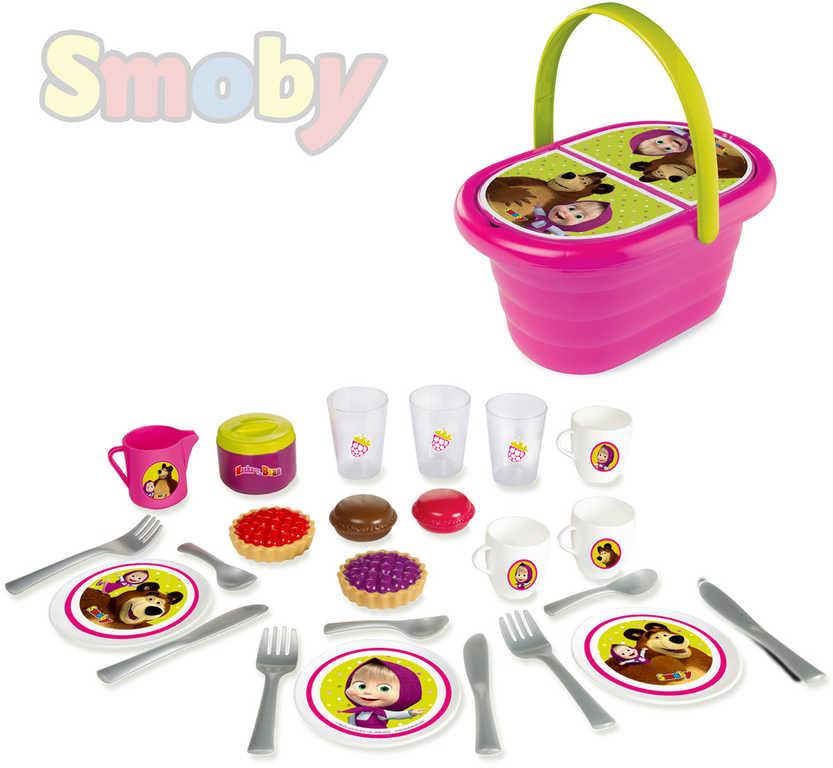 SMOBY Koš piknikový plastový Máša a medvěd set s nádobím a potravinami