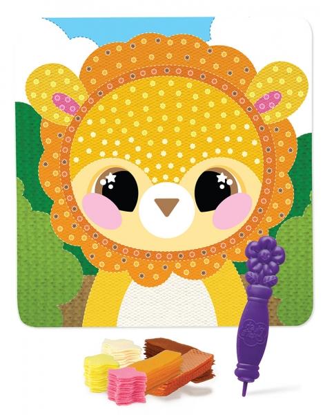 Kreativní obrázek lev s textilem
