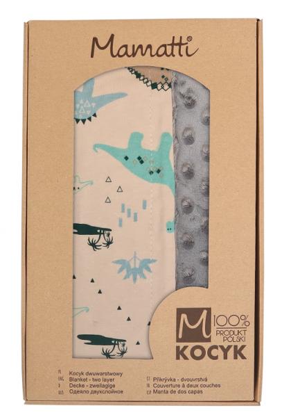 mamatti-detska-oboustranna-bavlnena-deka-s-minky-80-x-90-cm-dinosaurus-kremova-modra