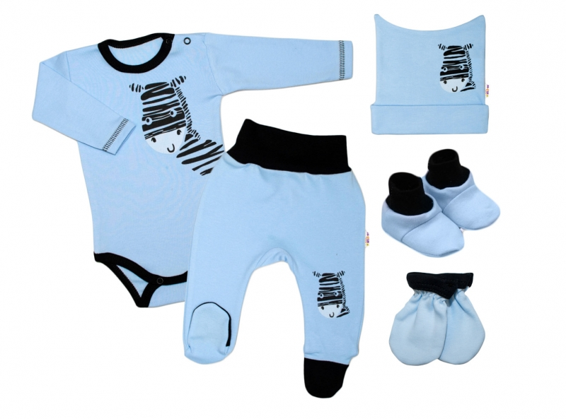 baby-nellys-5-ti-dilna-soupravicka-do-porodnice-zebra-modra-vel-56-56-1-2m