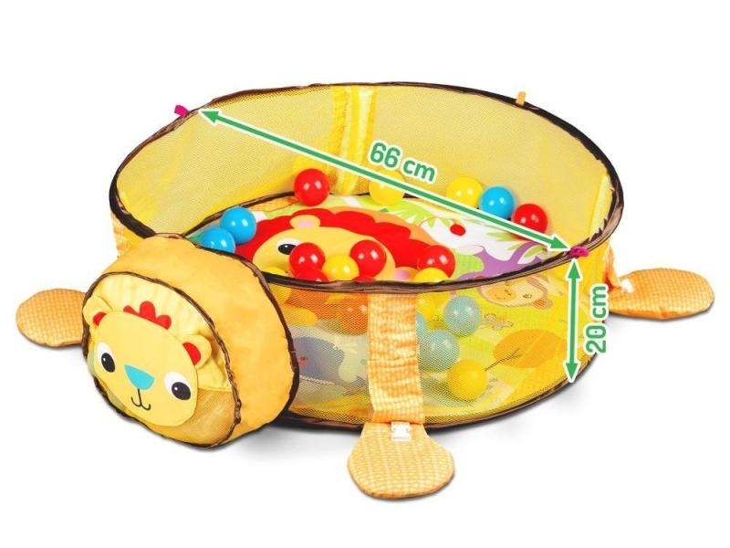 Vzdělávací hrací deka s hračkami a míčky Eco Toys - Lev