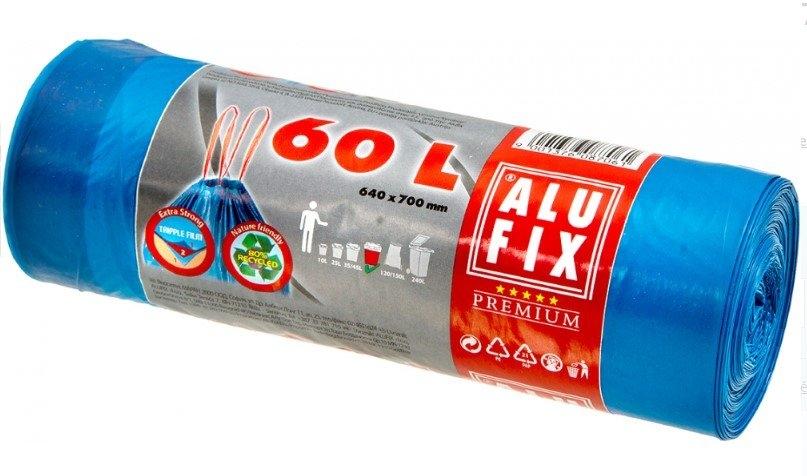 Alufix pytle na odpad, 20 µ, 64 × 71 cm, 60 l, 15 ks