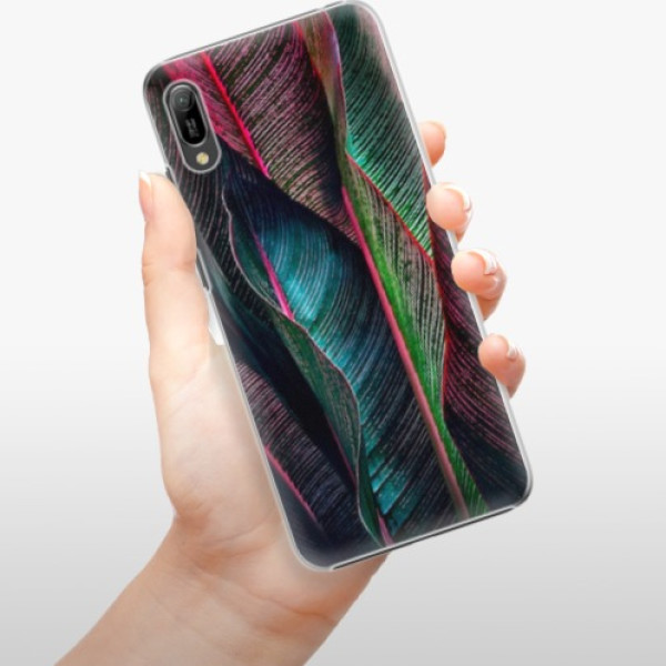 Plastové pouzdro iSaprio - Black Leaves - Huawei Y6 2019