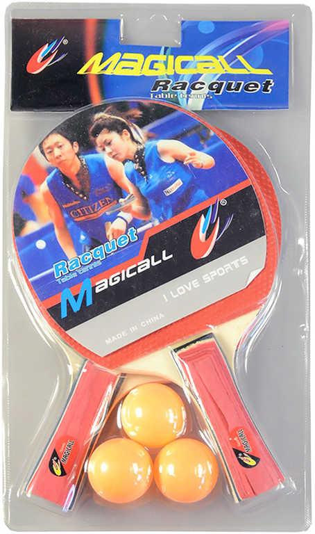 Pinpongový set pálka 2ks + míček 3ks na stolní tenis blister