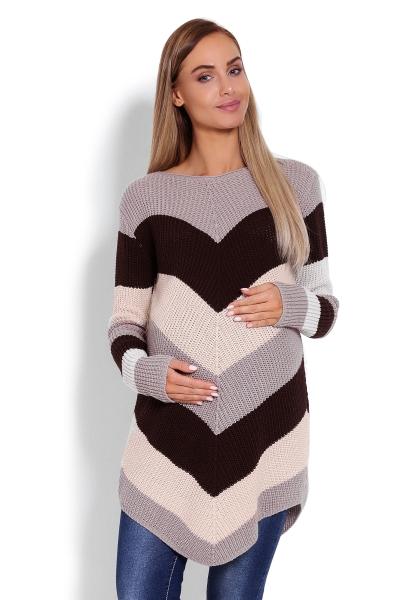 Prodloužený těhotenský svetřík, šikmé pruhy - cappuccino - UNI