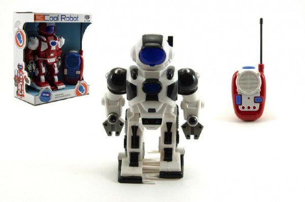 Robot RC plast 20cm na vysílačku asst 2 barvy na baterie se zvukem se světlem v krabici