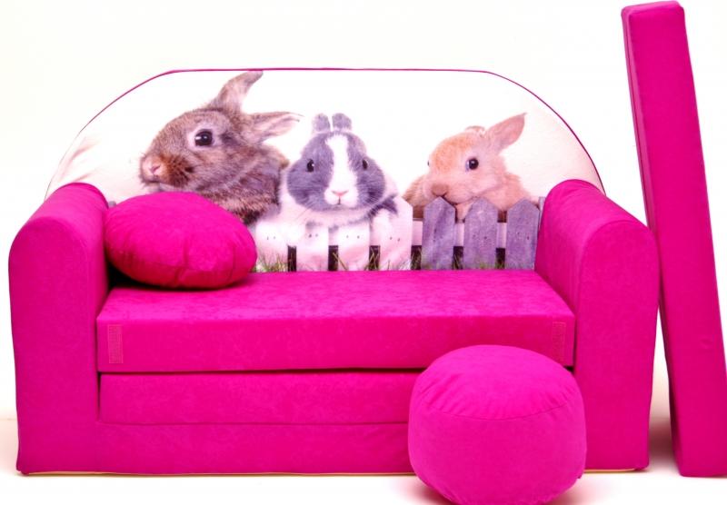 Rozkládací dětská pohovka Nellys ® 80R - Zajíčci v růžové
