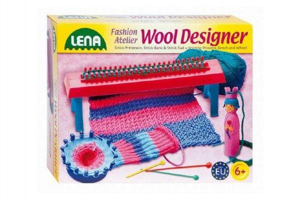 Studio pletení: Pletací stav plast+50g vlny+jehly+kolo+franc.panenka+doplňky v krabici 30x