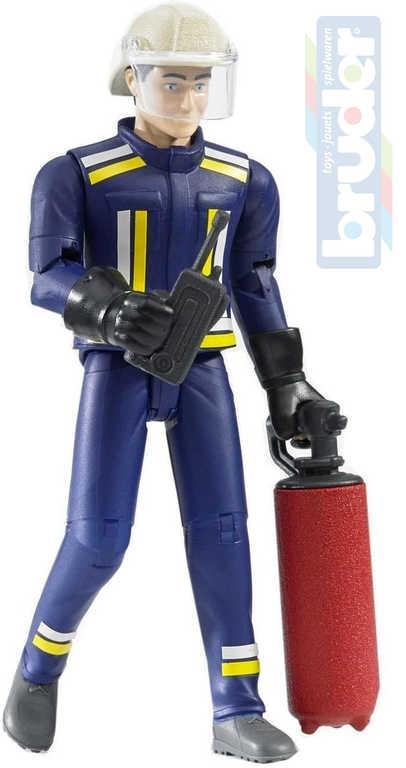 BRUDER 60100 Figurka hasič 11cm set s doplňky plast