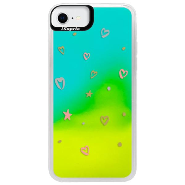 Neonové pouzdro Blue iSaprio - Lovely Pattern - iPhone SE 2020