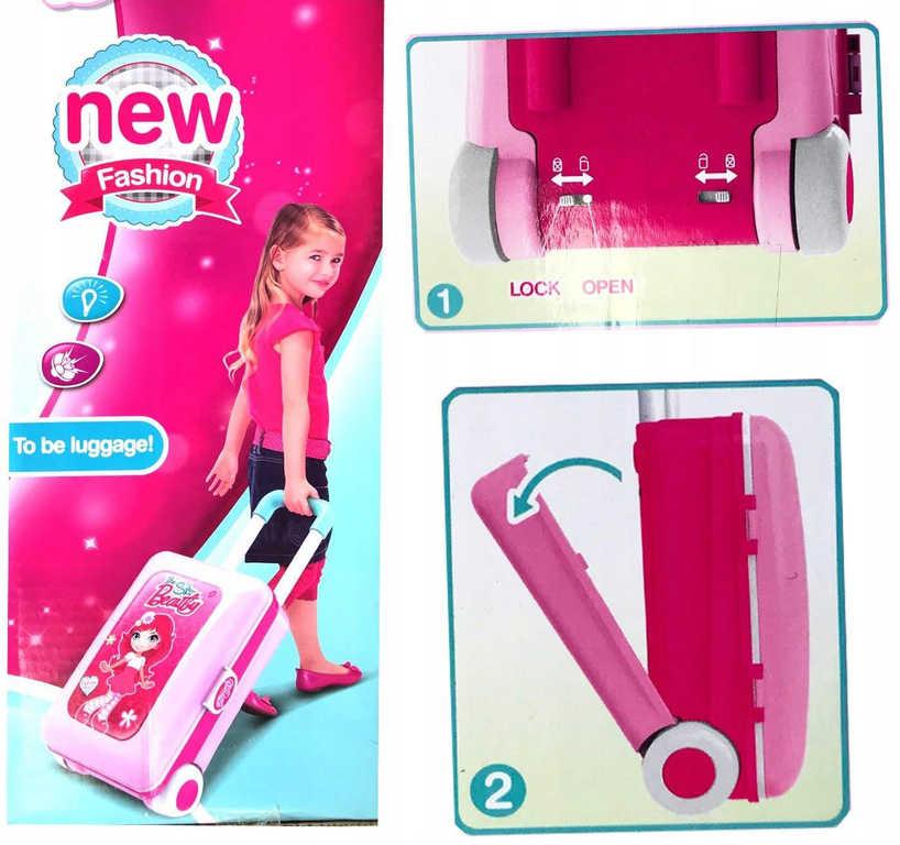 Stolek dětský kosmetický s efekty na baterie v kufříku 2v1 Světlo Zvuk