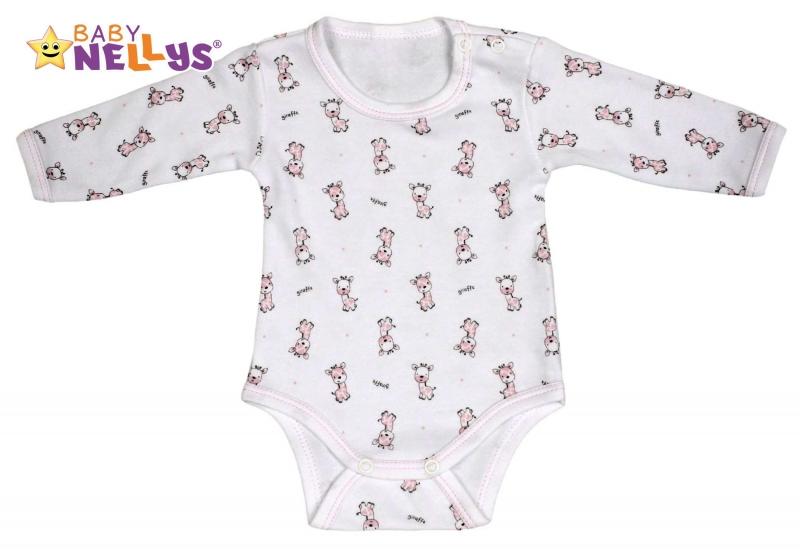 Body dlouhý rukáv Baby Nellys® - Giraffe - růžová - 86 (12-18m)