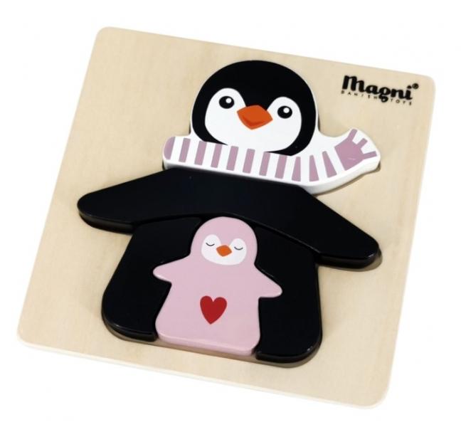 Magni Dřevěné puzzle - Máma Tučňák s růžovou šálou