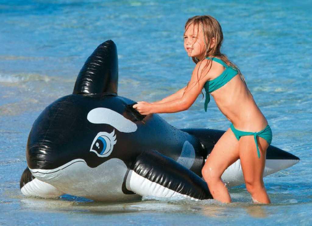 INTEX Velryba nafukovací 193x119cm dětské plavidlo s úchyty do vody 58561