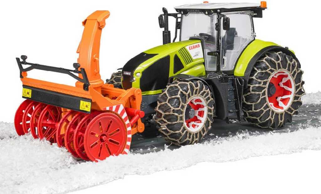 BRUDER 03017 Traktor Claas Axion 950 set se sněžnou frézou a řetězy 1:16 plast