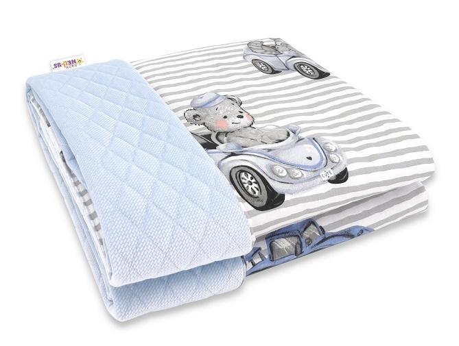 baby-nellys-oboustranna-prosivana-deka-bavlna-velvet-100x70cm-baby-car-modra