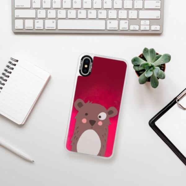 Neonové pouzdro Pink iSaprio - Brown Bear - iPhone XS