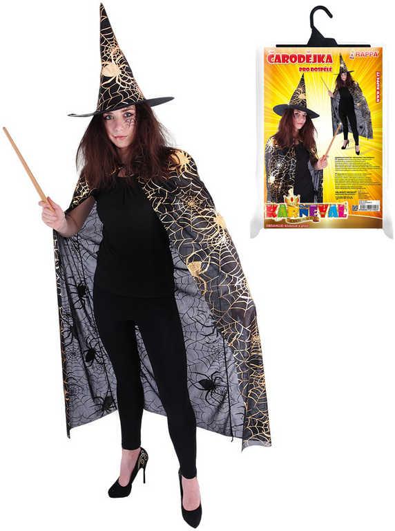 KARNEVAL Set plášť čarodějnický + klobouk pavučina dospělý