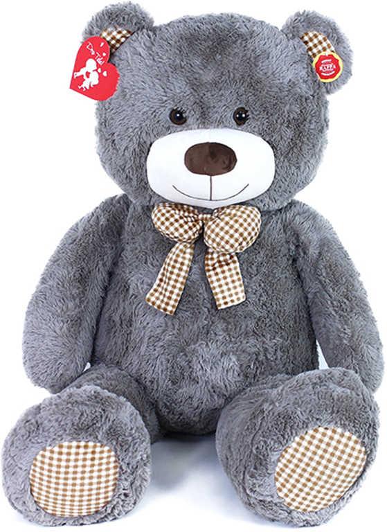 PLYŠ Medvěd Fanda 130cm šedý s mašličkou s věnováním *PLYŠOVÉ HRAČKY*