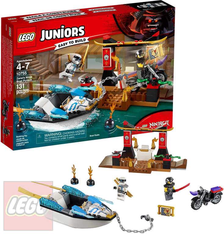 LEGO JUNIORS Pronásledování v Zaneově nindža člunu STAVEBNICE 10755