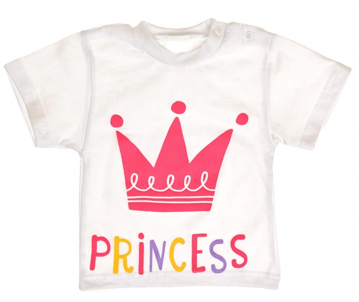 MBaby Bavlněné tričko vel. 74 - Princess korunka - bílé - 74 (6-9m)