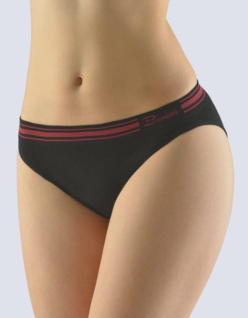 GINA dámské kalhotky klasické s úzkým bokem, bezešvé Natural Bamboo 00044P - černá kofola