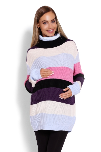Delší, proužkovaný těhotenský svetřík , rolák - barevné pruhy - UNI