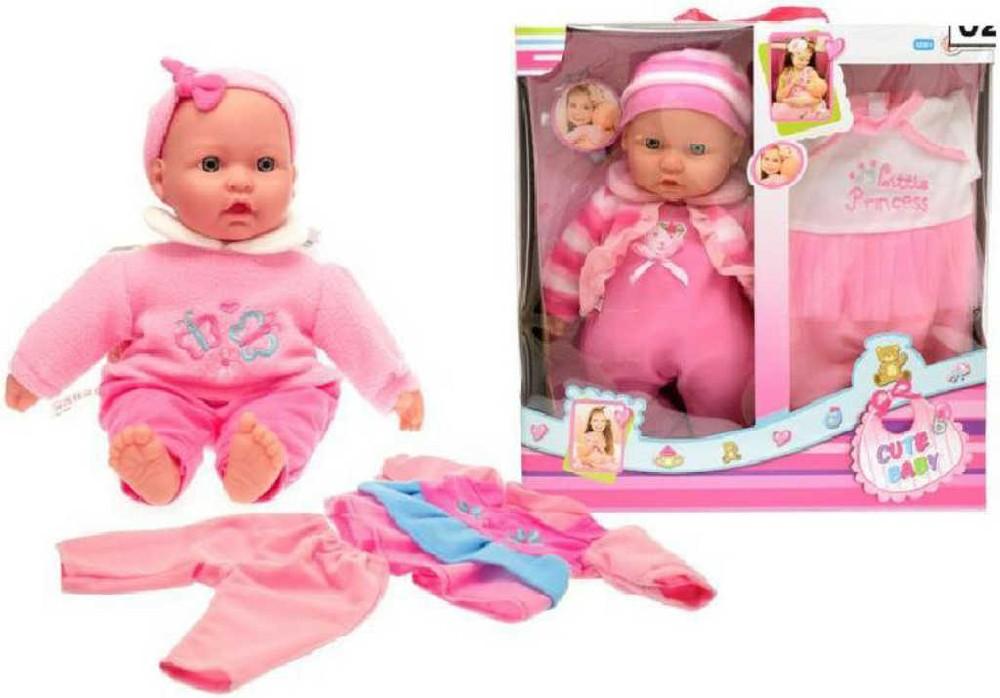 Miminko 36 cm měkké tělo set panenka s oblečky v krabici 2 druhy