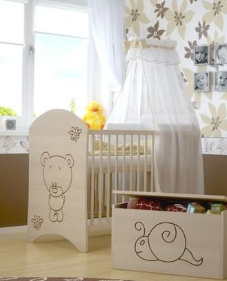 BabyBoo Dětská postýlka LUX s výřezem MEDVÍDEK květinka 120x60cm