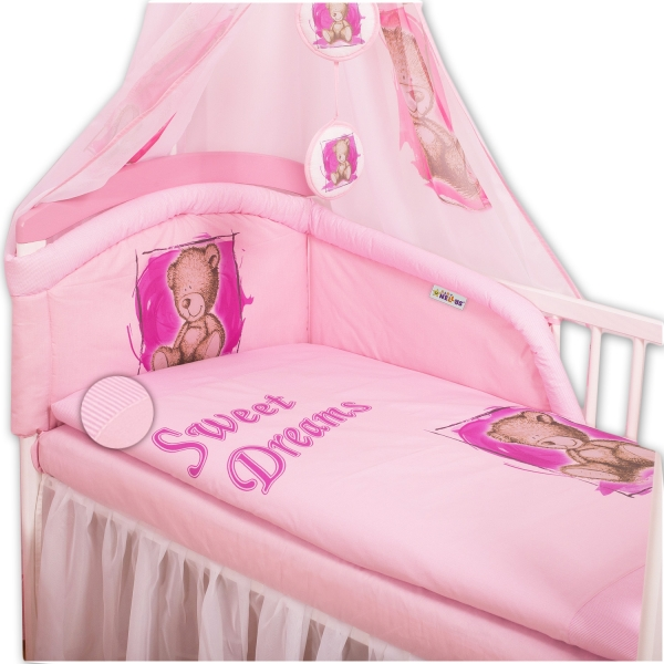 baby-nellys-mantinel-s-povlecenim-sweet-dreams-by-teddy-ruzovy-135x100