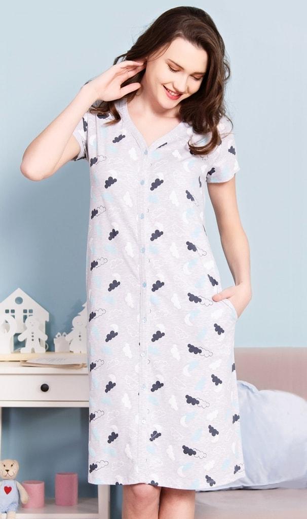 Dámské domácí šaty s krátkým rukávem Nebe - světle šedá