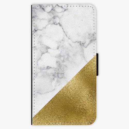 Flipové pouzdro iSaprio - Gold and WH Marble - Lenovo Moto G4 / G4 Plus