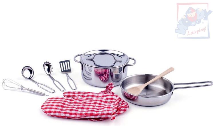WOODY Dětské nerezové nádobí set hrnec s pánvicí s nástroji a doplňky 10ks kov
