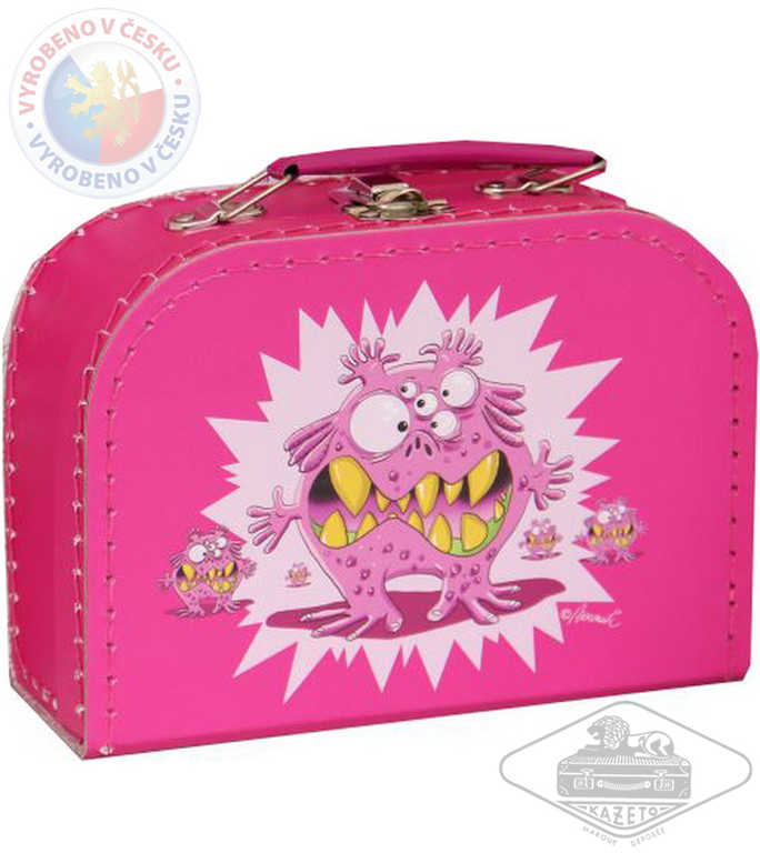 KAZETO Kufr dětský příšerky růžový střední kufřík