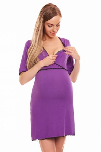 Be MaaMaa Těhotenská, kojící noční košile s krajkovým lemováním, kr. rukáv
