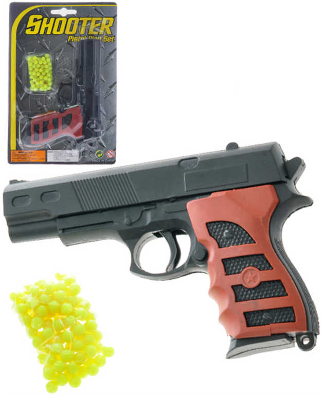 Pistole dětská na kuličky 15cm set plastová kuličkovka s náboji na kartě