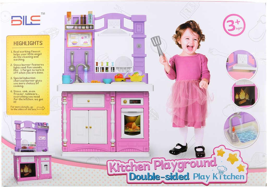 Kuchyňka dětská velká set s funkčním dřezem a nádobím na baterie Světlo Zvuk