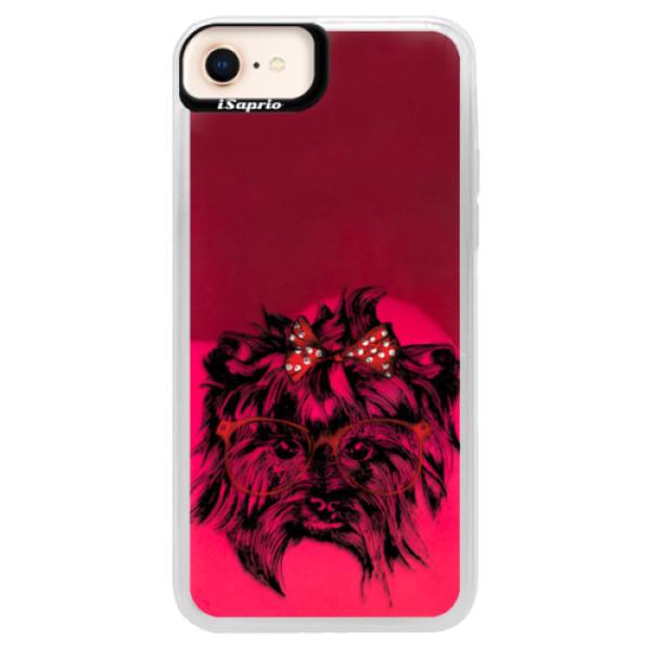 Neonové pouzdro Pink iSaprio - Dog 03 - iPhone 8